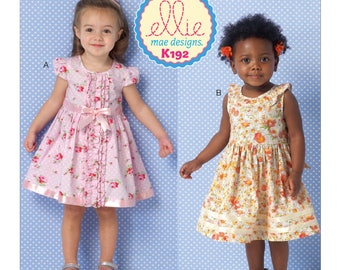 Sewing Pattern for Toddler Girls' Ruffled and Gathered Dresses, Kwik Sew Pattern 0192, Ellie Mae Design, Toddlers Party Dress, Summer Dress