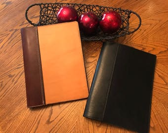 Leather Portfolio / Padfolio - Free Shipping - Amish Handmade - Large - Two Tone Brown or Black / Made in USA