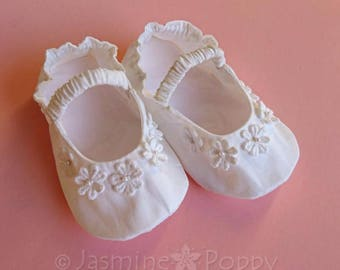 Baby booties, baby shoes, baby christening booties, baby baptism booties, classic Mary Janes