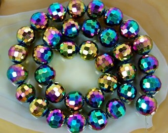 3 QUARTZ RAINBOW 10 MM FACETED BEADS.