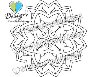 Simple Mandala Coloring Page #6, Printable Adult Coloring Page, Digital Download, Relaxation, Meditation, Peace
