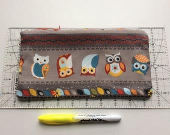 Cute owls pencil case / make up bag