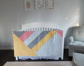 Blocked and Bright- Baby Quilt- Toddler Quilt