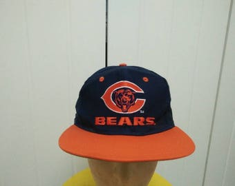 Rare Vintage CHICAGO BEARS Big Logo Embroidered Spell Out Cap Hat Free size fit all
