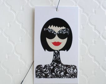 100 PRICE TAGS HANG Tags Retail Tags Boutique Tags Cute Black Sunglasses Girl 1 Merchandise Tags Clothing Tags With 100 Plastic Loops