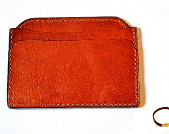 leather card holder hand made in london brown color free bracelet