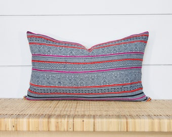 Hmong Batik Indigo Pillow Cover | Pink Lumbar Pillow | 12x20