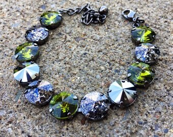 OLIVINE Swarovski crystal 12mm bracelet with olive green, hematite, and black patina stones set in hematite