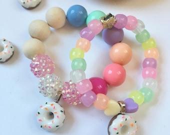 Donut Bracelet, donut party, donut birthday party, Kids Bracelet, donut jewelry, girls birthday gift, Bubblegum Bracelet, donut gift