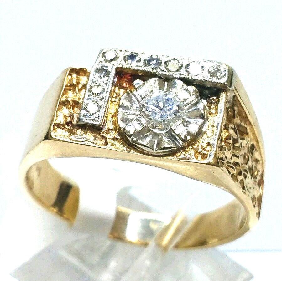 14 karat yellow white gold 3 8 carat diamond nugget ring for 14 karats fine jewelry