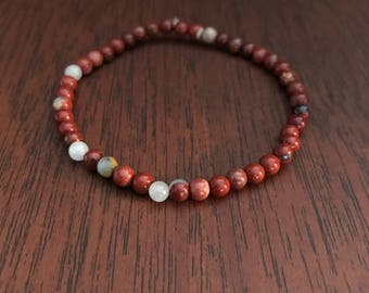 Mookaite Healing Crystal Stacking Bracelet. Genuine Natural Stone Stretch Bracelet.