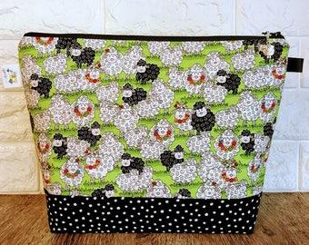 Knitting Project  Bag, Sheep Knitting Bag, Knitting Tote, Yarn Bag, Yarn Bowl, Zippered Bag, Sock Project Bag, Sheep Project Bag