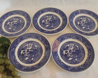 """Set of 5 Blue Willow 6.25"""" Bread Plates made by Royal China Company"""