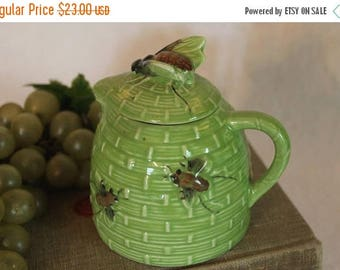 SALE Green Ceramic Honey Pot with Honey Bees from Tropic Bee Orange Blossom Honey
