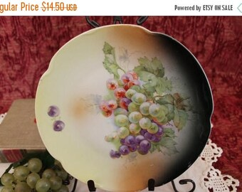"SALE Antique Hand Painted Porcelain 8.25"" Luncheon Plate - Western Germany, Grapes of Green, Purple, and Red"