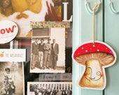 3 Mushrooms decoration, Red Mushrooms, Amanita Mushrooms, wood decor, handpainted cute Mushrooms