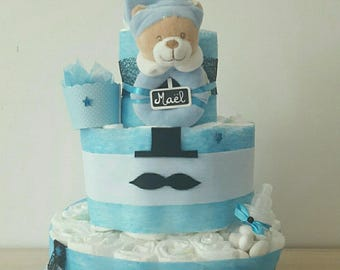 "beautiful ""my little mustache"" boy diaper cake"