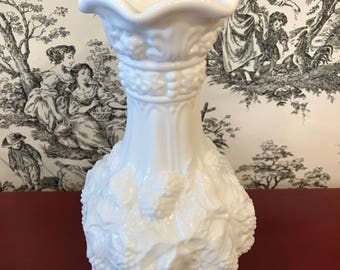Vintage Imperial Glass Milk Glass Vase Grape Pattern