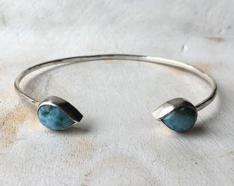 Tear Shaped Sky Blue Larimar Cuff with Hammer Textured Silver