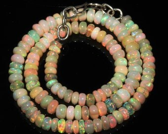 """62 Ctw 1Necklace 5to6 mm 14"""" Beads Natural Genuine Ethiopian Welo Fire Opal 7102"""