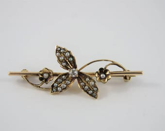 14K Yellow Gold Seed Pearl and Diamond Flower Brooch