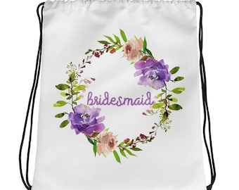 Bridesmaid Bridal Party Gift Drawstring bag