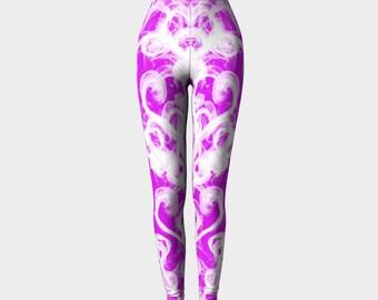 Valentines Day Leggings - pink and white hearts - Valentine's Leggings - love leggings - valentines' yoga leggings - Pink Leggings