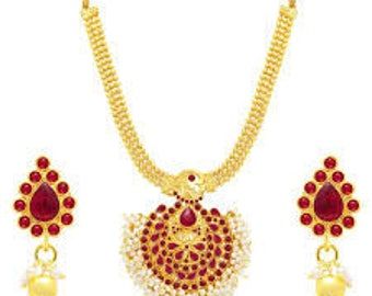 Gold Plated Necklace Women Evening Wear Bridal Set Wedding Necklace Earrings Jewellery Traditional South Indian Styles Red Stone Jewelry Set
