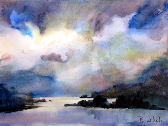 Columbia Gorge in Purples Blues and Pinks - Bonnie White - original painting - watercolor - landscape