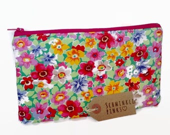 Bright Floral Makeup Bag, Cosmetic Bag, Makeup Case, Makeup Storage