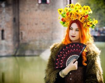 Yellow and orange spring summer flower crown headpiece