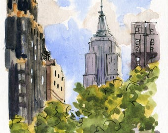 4x4 - Bryant Park - Original Watercolor Sketch