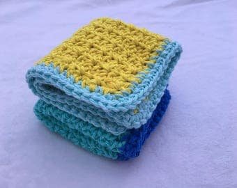 Pure Cotton Crochet Dishcloth Washcloth Washer Set of Two
