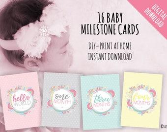 PRINTABLE Baby Girl Milestone Cards Set | Instant Digital Download | Original Doodle Design