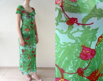 KENZO vintage 90s mesh sheer floral bodycon grunge dress S M