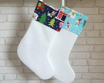 Children's Christmas Stocking~Farmyard Christmas Stocking~Gnomes Christmas Stocking~Christmas Decoration~Personalised Felt Stocking