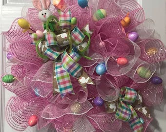 Easter Wreath, Spring Wreath, Pink and White Mesh Wreath, Bunny Wreath