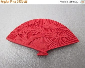 ON SALE 15% OFF Carved Red Cinnabar Fan Bead 1pc
