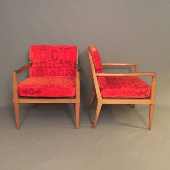 Rare Pair Mid-Century Finn Jhul style arm chairs