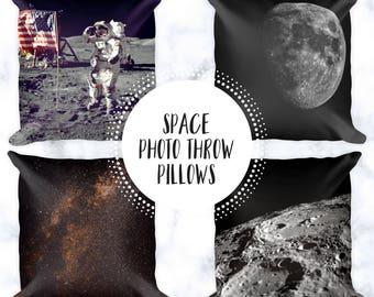 Outer Space Throw Pillows | Pillow Cases | Home Decor | Astronaut | Moon Accent Pillows | Decorative Pillows | Kid's Room Decor | Astronomy