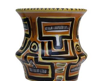 French Vintage Quimper Keraluc Vase - Mid Century Pottery Vase - Brittany Geometric Celtic Motifs Vase