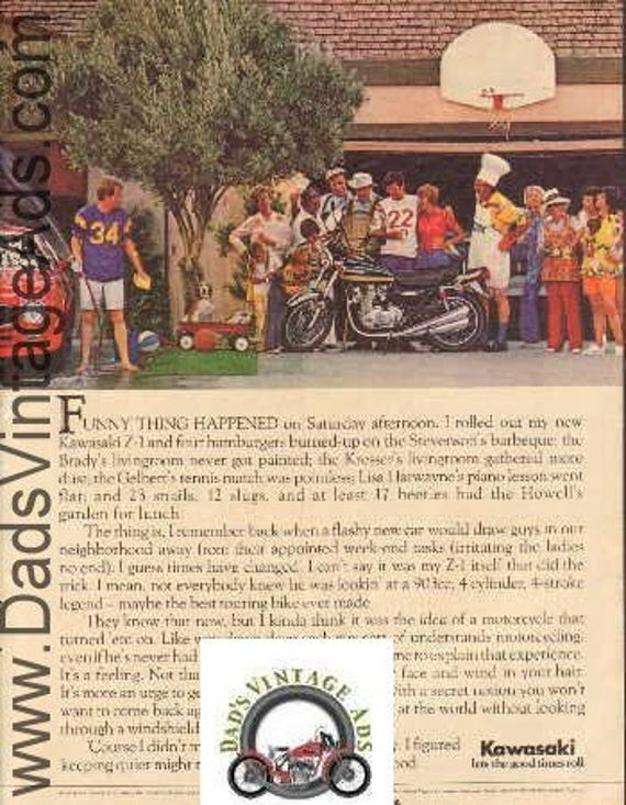 1975 Kawasaki Z-1 Vintage Motorcycle Ad #e75ja03