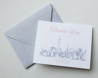 New York City Skyline Thank You Notes - NYC Skyline Thank You Cards - NYC Invitation Suite Thank You Notes - Grey and Blush 1