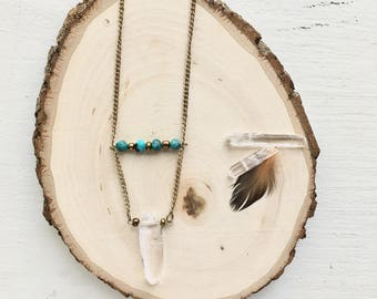 Turquoise & Clear Crystal Quartz Boho Necklace-