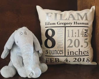Birth Announcement | Baby Pillow | Personalized | Custom Baby Gift | Baby Announcement