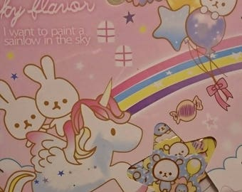 "Q -lia ""Kindness Sky Flavor"" sticker sack of 7 designs and 50 sticker flakes + kawaii scrapbooking"