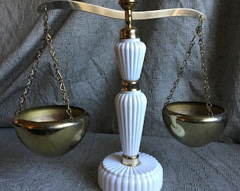 Ucagco Milk Glass and Brass Vintage Scale