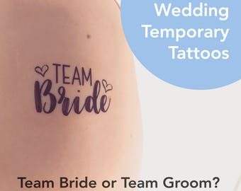 Team Bride, Team Groom Temporary Wedding Tattoos | Can be personalised to your names | Perfect for any wedding!