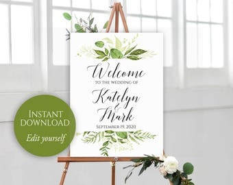 Welcome To Our Wedding, Welcome Wedding Sign, Printable Welcome, PDF Template, Editable Welcome Sign, Greenery Wedding, Instant Download