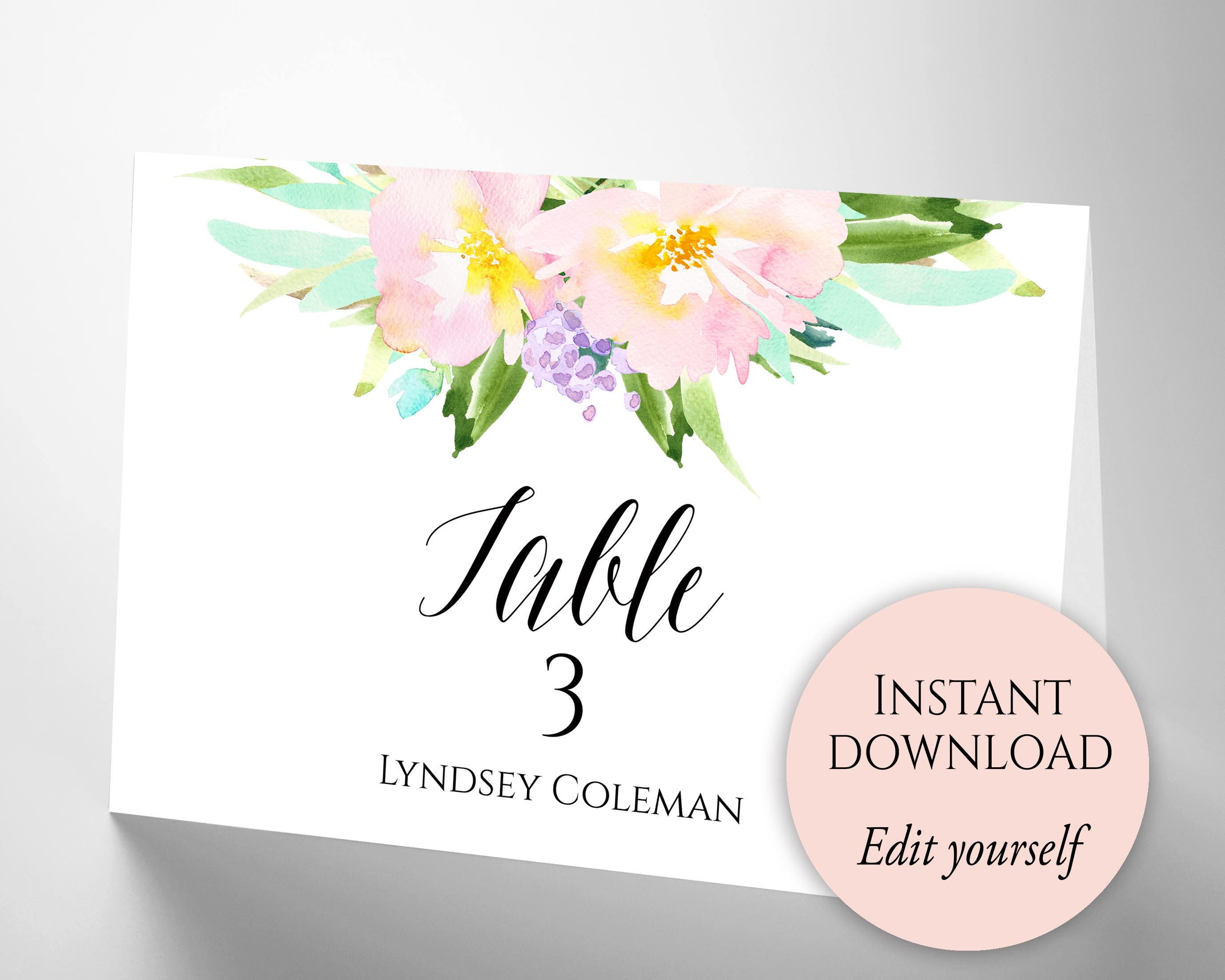Wedding Place Cards, Place Card Template, Place Cards Wedding, Place ...